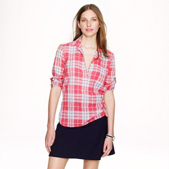 J. Crew Button Front Gauze Popover in Red Plaid